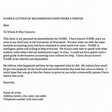 Letter Of Recommendation Format For A Friend Free 17 Sample Reference Letter Templates In Pdf Ms