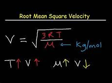 Root Mean Square Equation Root Mean Square Velocity Equation Formula Youtube