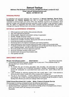 Finance Assistant Cv Samuel T Cv For Account And Finance Assistant Jobs Ed 22