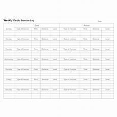 Weekly Exercise Log Weekly Cardio Exercise Log