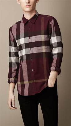 Purple Multi Check Flannel Smart Ring by Lyst Burberry Exploded Check Flannel Shirt In Purple For