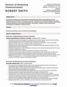 Communication Resume Skills Director Of Marketing Communications Resume Samples