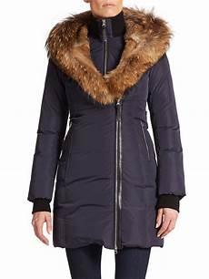 mackage coats for blue fur mackage trish fur trimmed puffer coat in blue ink