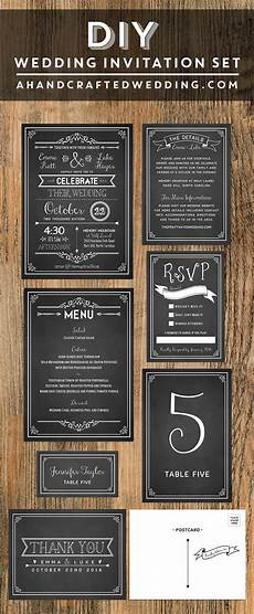 chalkboard diy wedding invitation set share today s