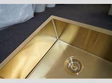 QUAD   450mm Square Light Gold Handmade Stainless Steel Sink   Premium PVD   Homegear Australia