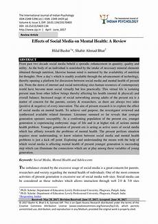 Essay About Social Media Pdf Effects Of Social Media On Mental Health A Review