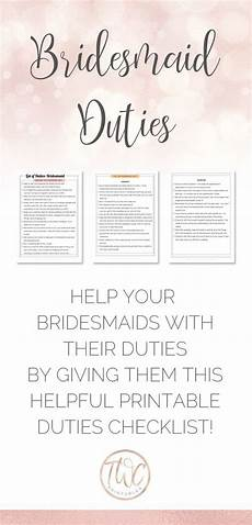 Checklist For A Wedding Bridesmaid Duties With Colorful Headings Checklist