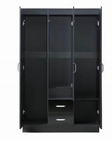 gladini xl mirrored black high gloss 3 door wardrobe with
