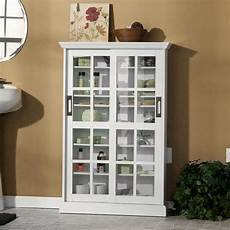 sei sliding door glass front media cabinet