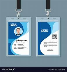 Pvc Id Card Template Blue Curve Wave Id Card Design Template Vector Image On