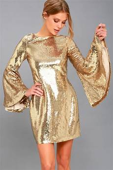 Light Gold Sequin Dress Stunning Sequins Dress Gold Dress Bell Sleeve Dress