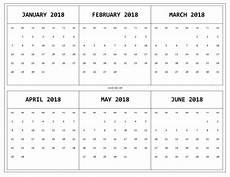 6 Month Calendar On One Page 6 Month One Page Printable Calendar 2018 Monthly