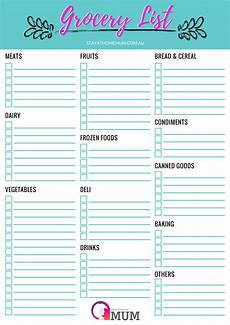 Grocery List Customisable Grocery Shopping List A Free Printable