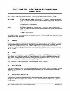 Commission Agreement Exclusive Sollicitation Sales Commission Agreement