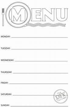 Blank Menus Free Printable Weekly Menu Planner The Diy Village