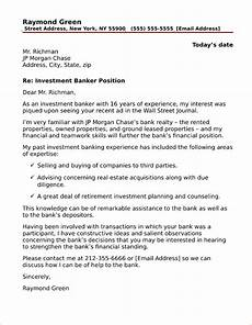 Cover Letter Example Investment Banking Investment Banking Cover Letter Sample