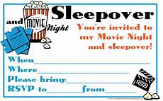 Sleepover Template Fill In The Blanks Invitation To A Movie Night And