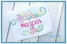 applique corner floral name frame sketch embroidery design