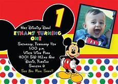 Custom Mickey Mouse Invitations Free Printable 1st Mickey Mouse Birthday Invitations