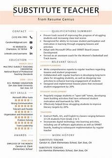 Teaching Resumes Samples Substitute Teacher Resume Samples Amp Writing Guide Resume