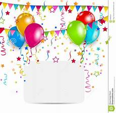 Birthday Celebration Cards Celebration Card With Balloons Confetti And Hangi Stock