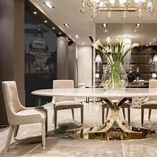 high end gold oval designer dining table set