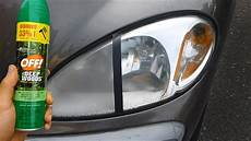 Light Oxidation On Car Using Bug Spray To Clean Headlights Warning Youtube