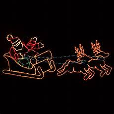 Lighted Santa Sleigh And Reindeer Outdoor Outdoor Decoration Waving Santa With Sleigh And Reindeer