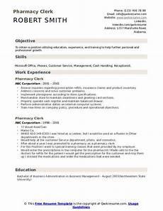 Pharmacy Resume Pharmacy Clerk Resume Samples Qwikresume