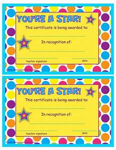 Children Award Certificates You Re A Star End Of The Year Certificates Student