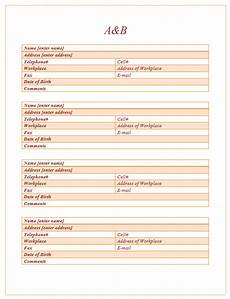 Microsoft Word Address Book 20 Free Address Book Templates In Ms Word Format One
