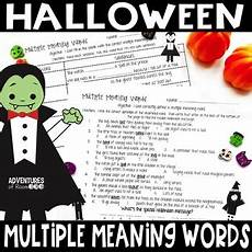 Halloween Themed Words Multiple Meaning Words Halloween Themed Worksheets By