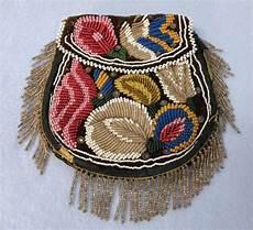 antique iroquois american beaded flat bag purse
