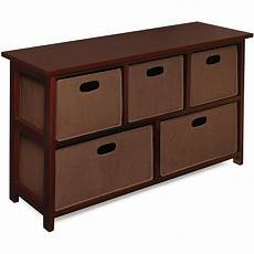 wooden cherry storage cabinet with baskets overstock