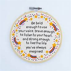 inspirational quote rainbow embroidery hoop by