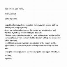 2 Week Notice Letter Template Two Weeks Notice Letter 12 Download Free Documents In Word
