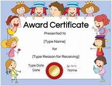 Child Award Certificate Free Custom Certificates For Kids Customize Online