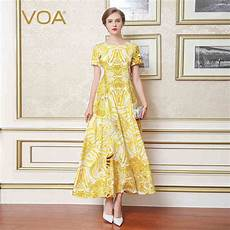 sleeve summer dresses for yellow voa yellow boho print slim silk dress summer