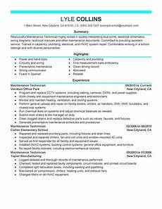 Maintenance Technician Resume Sample Maintenance Technician Resume Examples Created By Pros