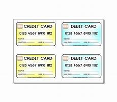 Credit Card Template For Kids Credit Cards Debit Cards For Children To Use In Role