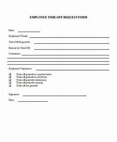 Employee Time Off Request Form Sample Request Off Form 7 Examples In Word Pdf