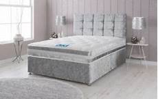 silver crushed velvet divan bed memory mattress