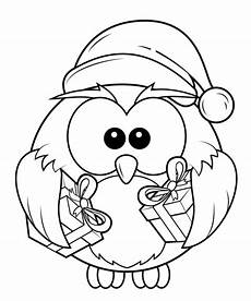 Ausmalbilder Eule Weihnachten Owl With Gift Boxes Coloring Page Free
