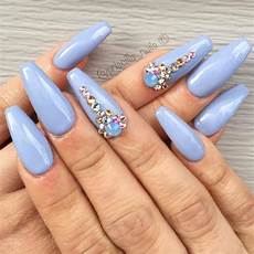 Light Blue Nails Coffin 42 Magnetic Hues To Flatter Coffin Nails