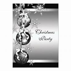 Black And White Christmas Invitations Silver Black White Snowflakes Christmas Party Card Zazzle
