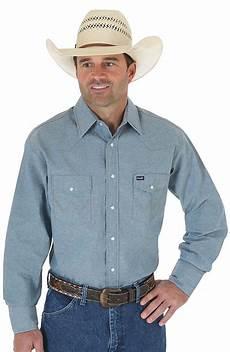 sleeve snap shirts for wrangler s sleeve cowboy cut chambray western
