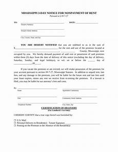 Notice Of Eviction For Nonpayment Of Rent Mississippi 3 Day Notice To Quit Non Payment Of Rent