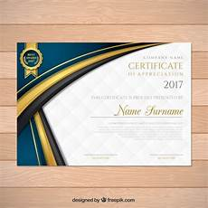 Elegant Graduation Certificate With Wavy Forms Vector