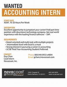 Resume For Accounting Internship Novocoast Wanted Accounting Intern Santa Barbara