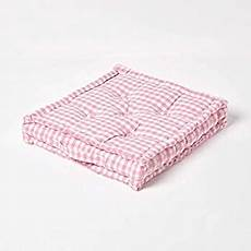 homescapes pink white gingham check floor cushion 100